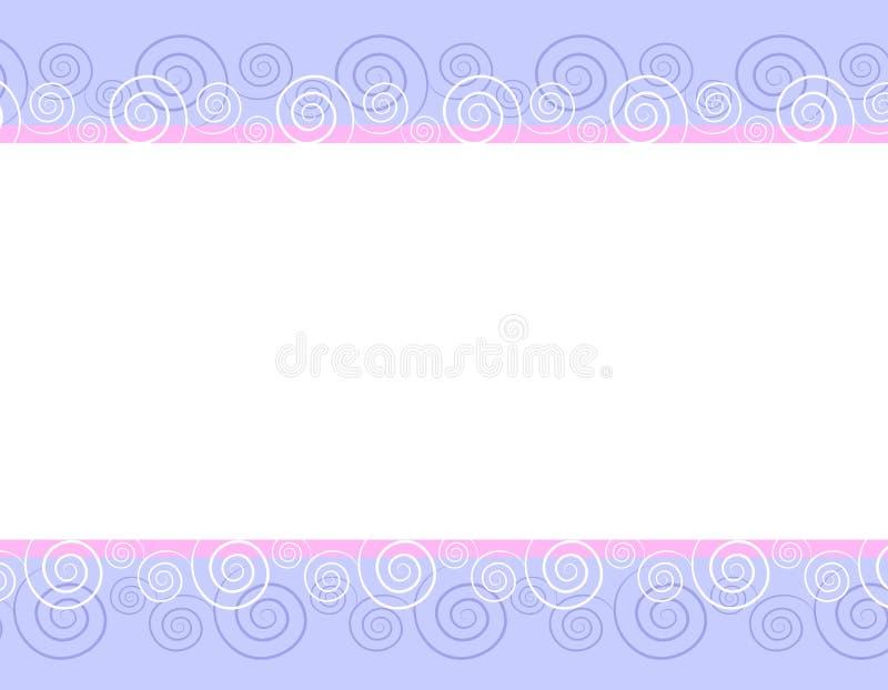 Frühlings-rosafarbenes Blau wirbelt Rand-Hintergrund stock abbildung