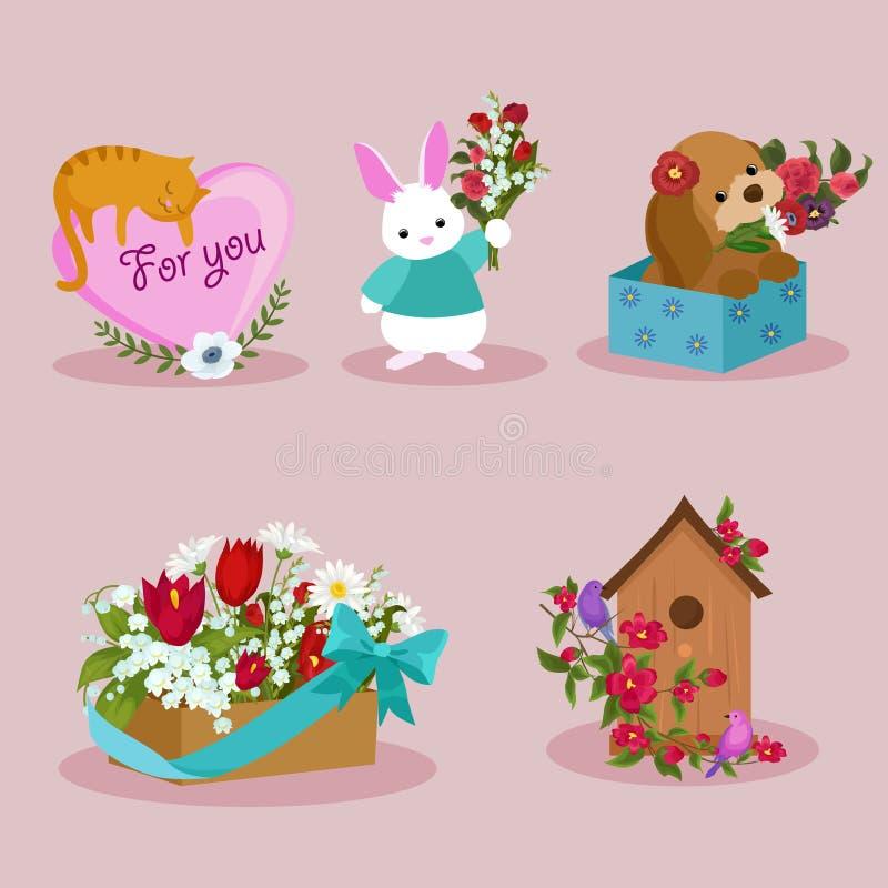 Frühlings- und Frauentagesfeiertagselementbild-Designsatz lizenzfreies stockbild