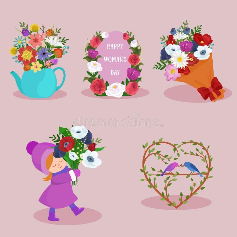 Frühlings- und Frauentagesfeiertagselementbild-Designsatz lizenzfreie stockfotografie
