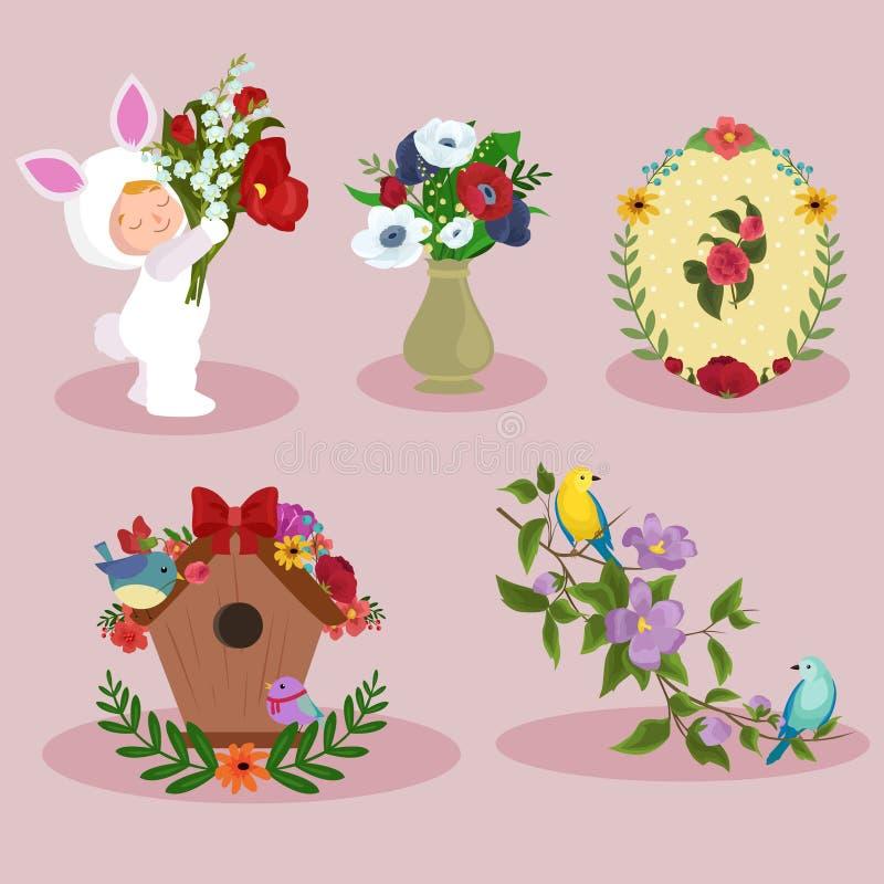 Frühlings- und Frauentagesfeiertagselementbild-Designsatz lizenzfreies stockfoto