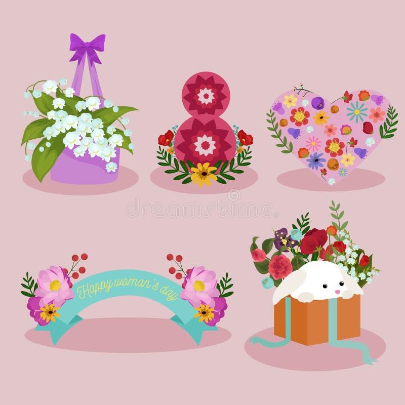 Frühlings- und Frauentagesfeiertagselementbild-Designsatz stockfoto