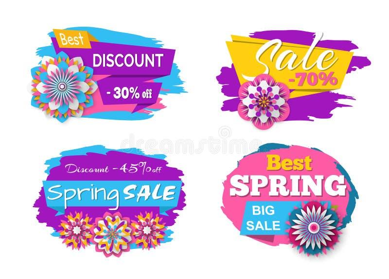 Frühlings-Verkauf 70 Prozent weg, gesenkter Preis-Satz stock abbildung
