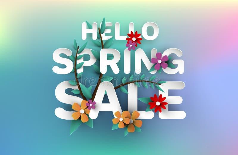 Frühlings-Verkaufs-Fahne mit Blumen, Blatt und buntem Hintergrund lizenzfreie abbildung