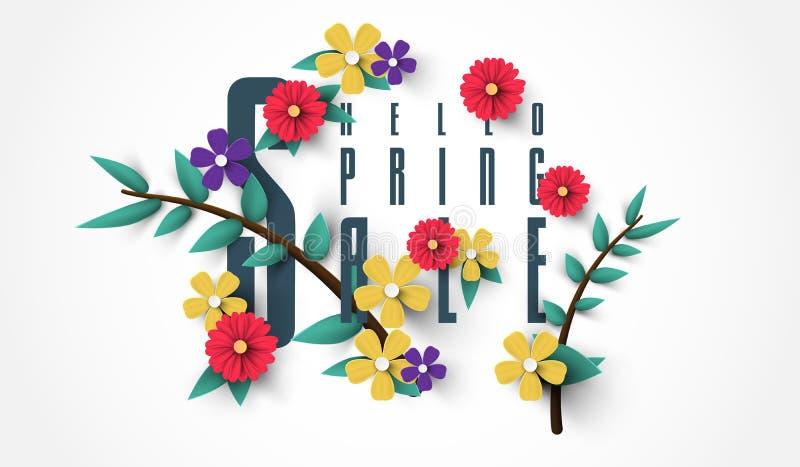 Frühlings-Verkaufs-Fahne mit Blumen, Blatt und buntem Hintergrund stock abbildung