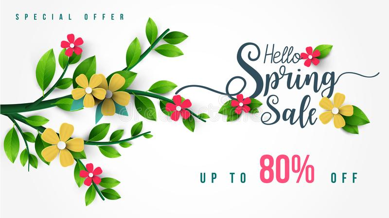 Frühlings-Verkaufs-Fahne mit Blumen, Blatt und buntem Hintergrund vektor abbildung