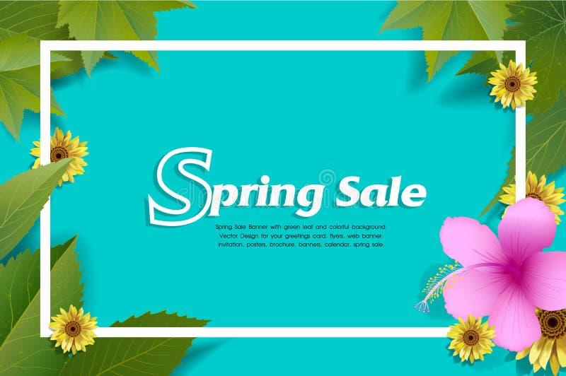Frühlings-Verkaufs-Fahne mit grünem Blatt und buntem Hintergrund vektor abbildung