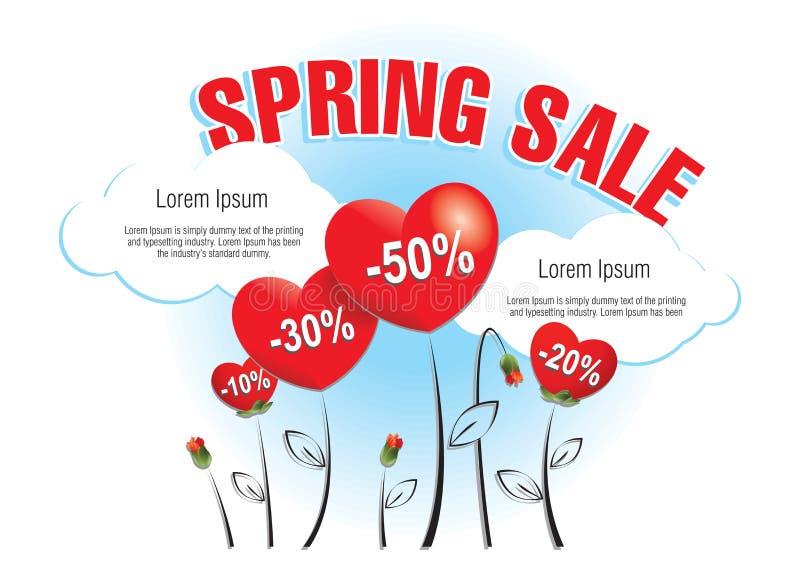 Frühlings-Verkaufs-Herzen vektor abbildung