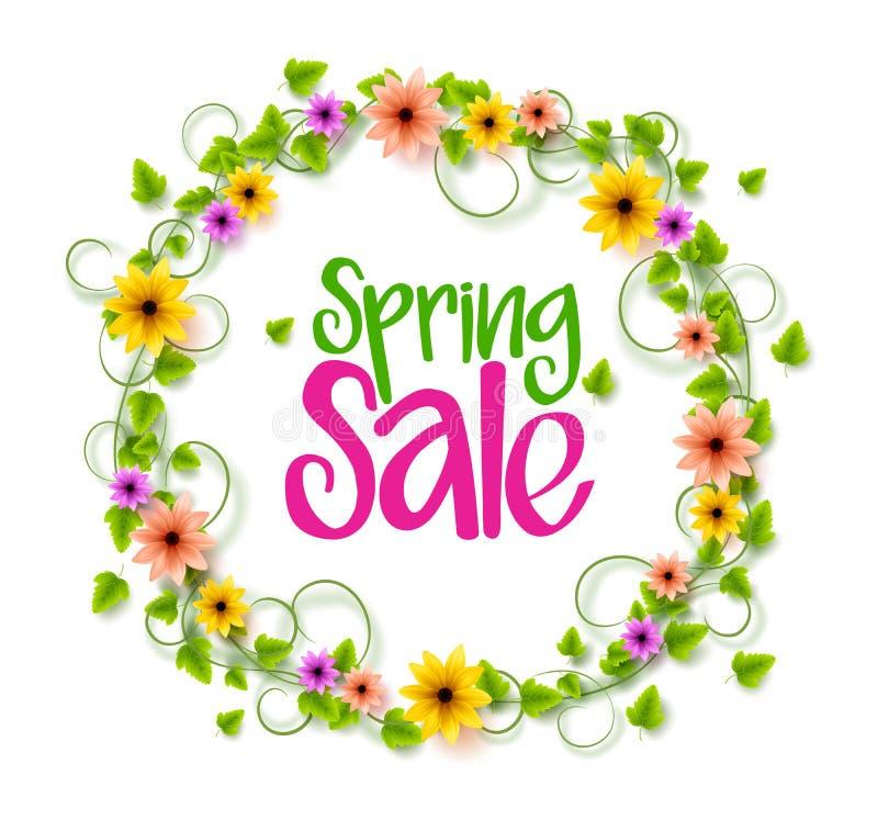 Frühlings-Verkaufs-Kranz von bunten realistischen Vektor-Blumen und Reben stock abbildung