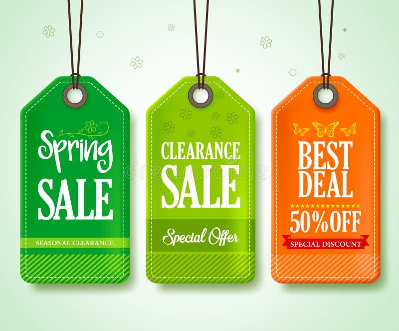 Frühlings-Verkaufs-Tags eingestellt für das Saisonspeicher-Förderungs-Hängen vektor abbildung