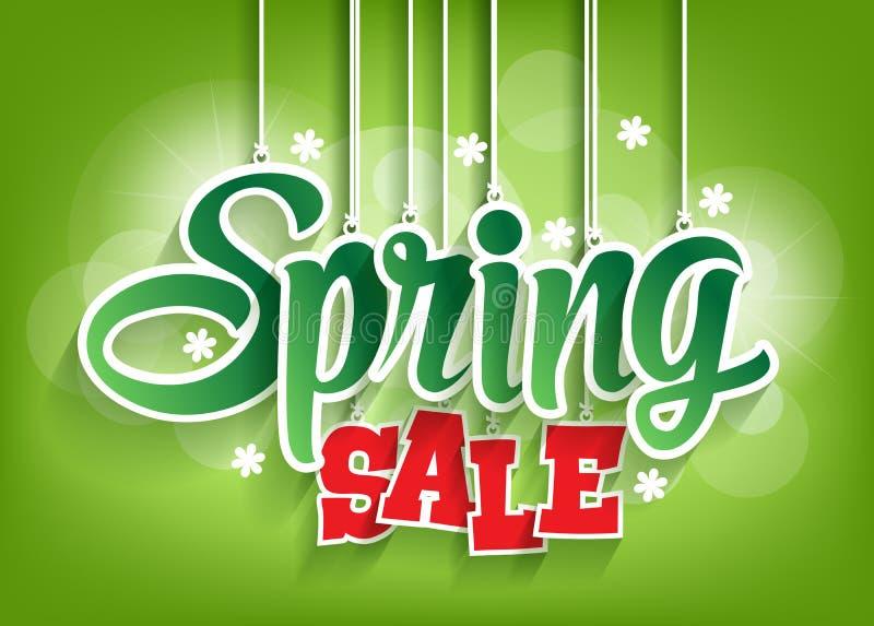 Frühlings-Verkaufs-Wort, das mit Schnüren hängt stock abbildung