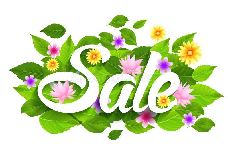 Frühlings-Verkaufs-Wort mit Schmetterlingen, Blättern und Blumen vektor abbildung