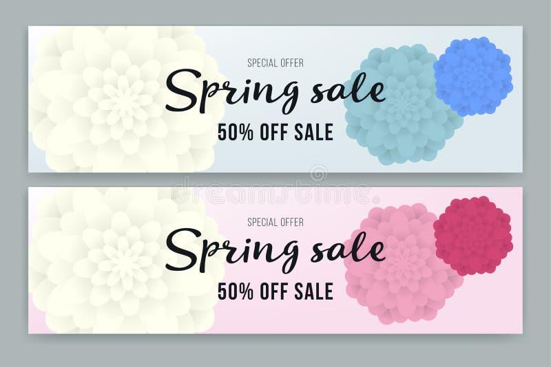 Frühlings-Verkaufsflieger- oder -belegdesignsatz Vektorillustration mit Platz für Ihre Textnachricht Plakat, Verkaufs-Flieger stock abbildung