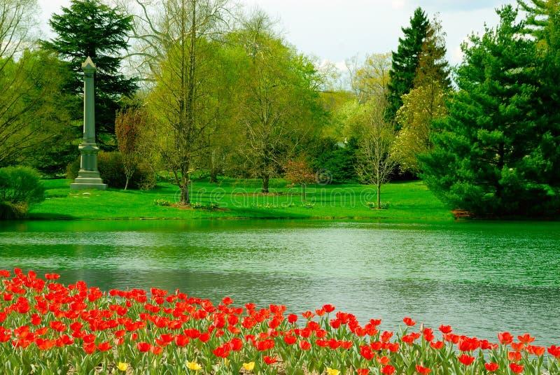 Frühlings-Waldung-Kirchhof lizenzfreies stockbild