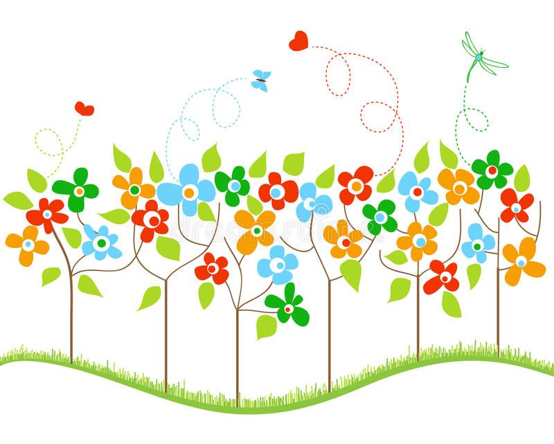 Frühlingsbäume vektor abbildung