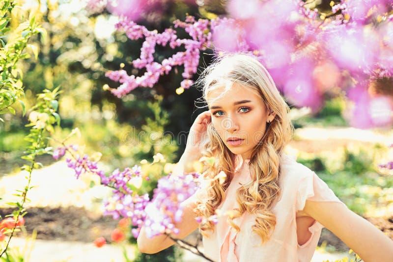Frühlingsblütenkonzept Junge Frau genießen Blumen im Garten, defocused Mädchen auf träumerischem Gesicht, zarte Blondine nahe Vei lizenzfreie stockbilder