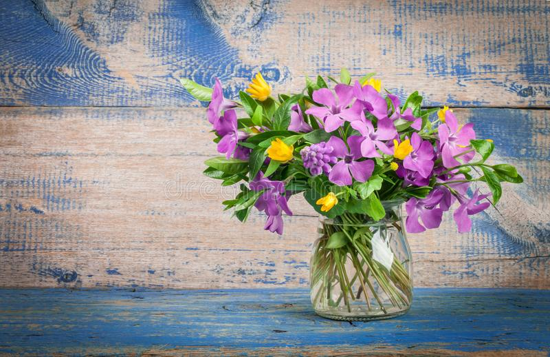 Frühlingsblumen im Glasvase stockfotos