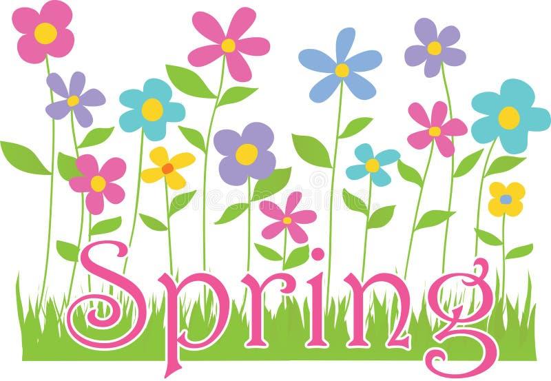 Frühlingsblumen mit Text stock abbildung