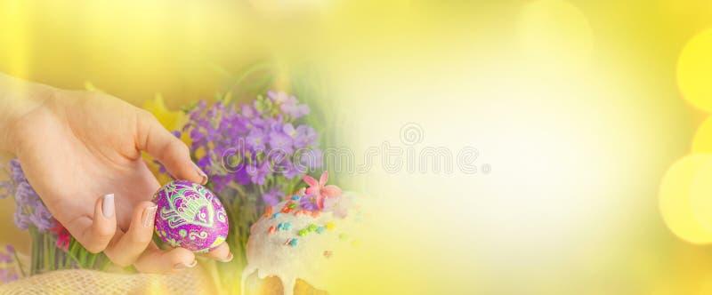 Frühlingsblumen, Ostern-Kuchen und Ostereier Ostern-bunte Fahne leerer Kopienraum stockbild