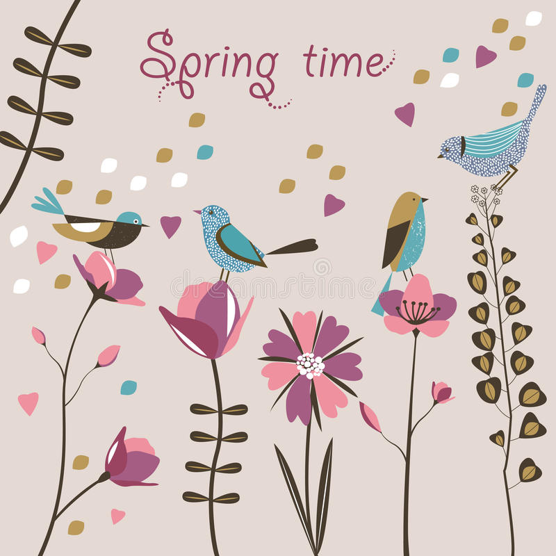 Frühlingsblumen und -vögel.