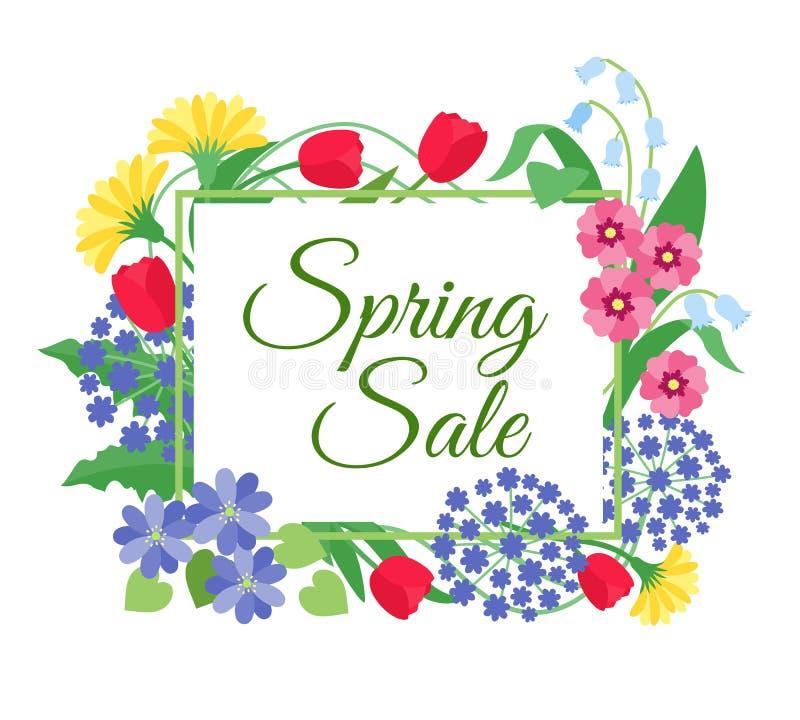 Frühlingsblumen-Verkaufshintergrund Muttertag, am 8. März Rabattförderungsfahne mit Frühlingsblumen Blumenkupon lizenzfreie abbildung