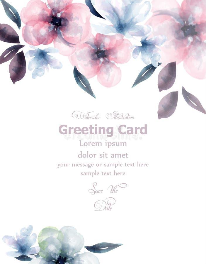 Frühlingsblumenaquarell-Karte Vektor Empfindlicher blühender Blumenfahnendekor Einladungskarte, Hochzeitszeremonie stock abbildung