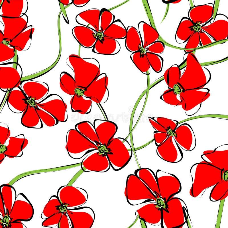 Frühlingsblumenfeld-Musterhintergrund Rote Blumen der bl?henden wilden Mohnblume mit gr?nem Stamm, Blatt und der Blumenknospe Gel stock abbildung