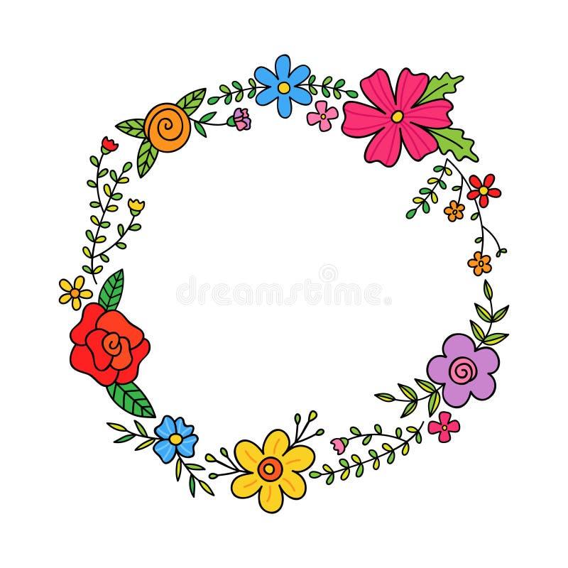 Frühlingsblumenkranzvektor stock abbildung
