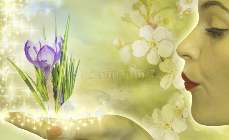 Frühlingsdame vektor abbildung