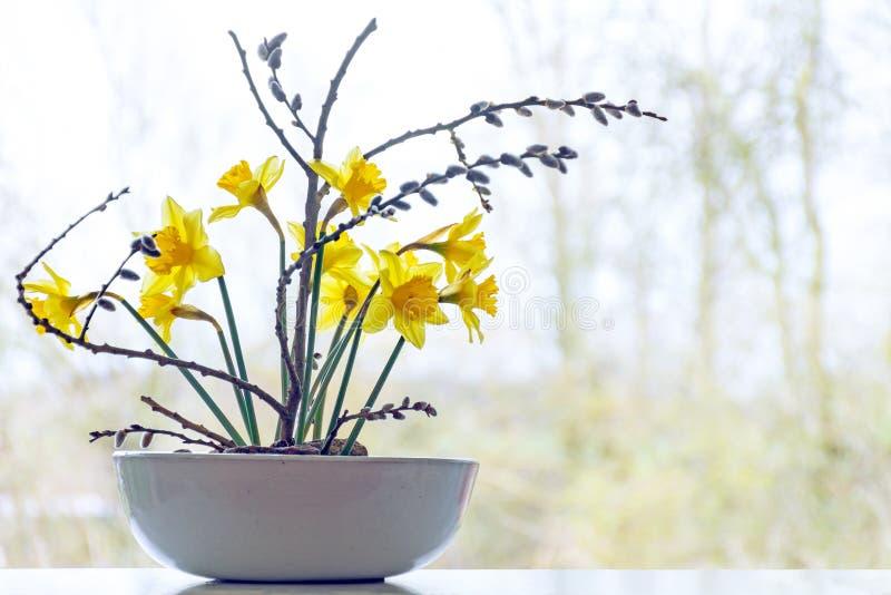 Frühlingsdekoration, Narzissen und Pussyweide in einer keramischen Schüssel stockbilder