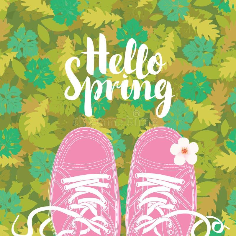 Frühlingsfahne mit Aufschrift und rosa Schuhen lizenzfreie abbildung