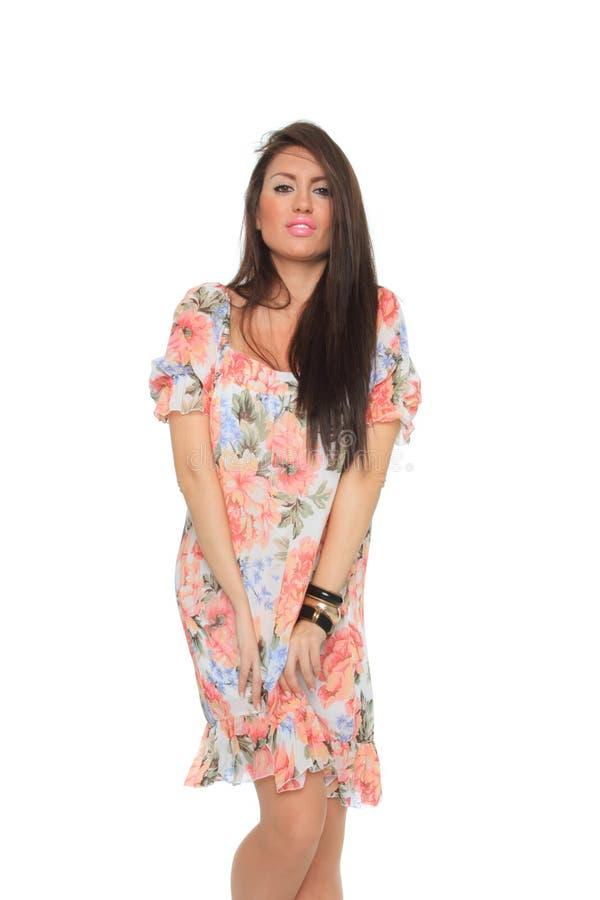 Frühlingsfrau getrennt auf Weiß lizenzfreie stockbilder