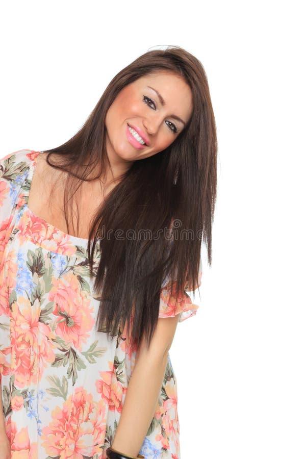 Frühlingsfrau getrennt auf Weiß stockfoto