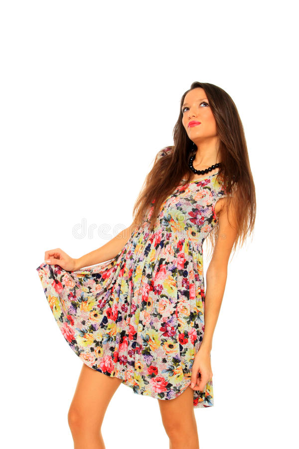 Frühlingsfrau getrennt auf Weiß lizenzfreie stockfotografie