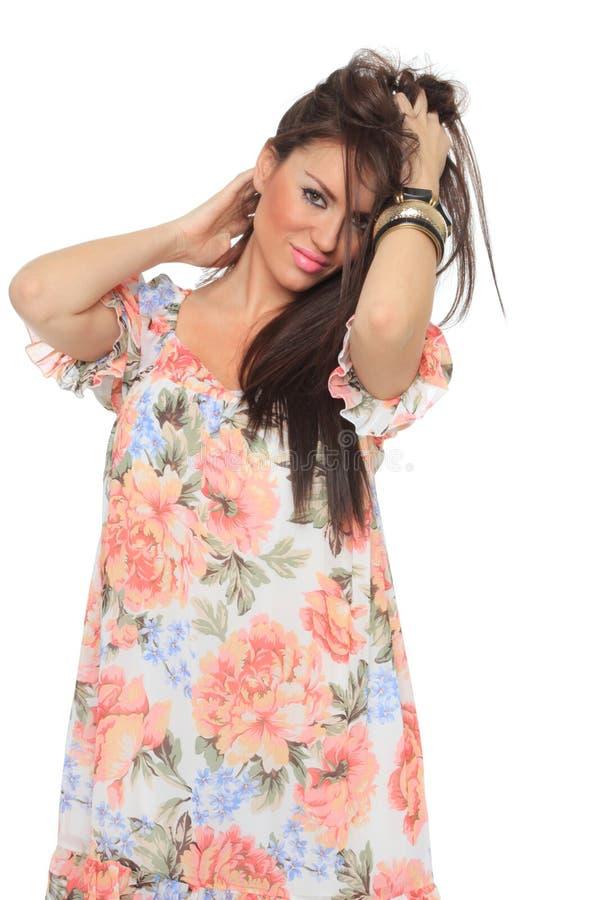 Frühlingsfrau lokalisiert auf Weiß stockfotografie