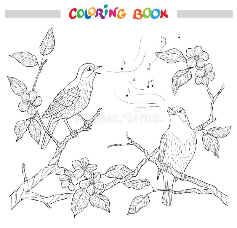 Frühlingsgartenzusammensetzung Ein Vogel singt auf einer Blütenniederlassung Aufwändige dekorative Schwarzweißabbildung stock abbildung