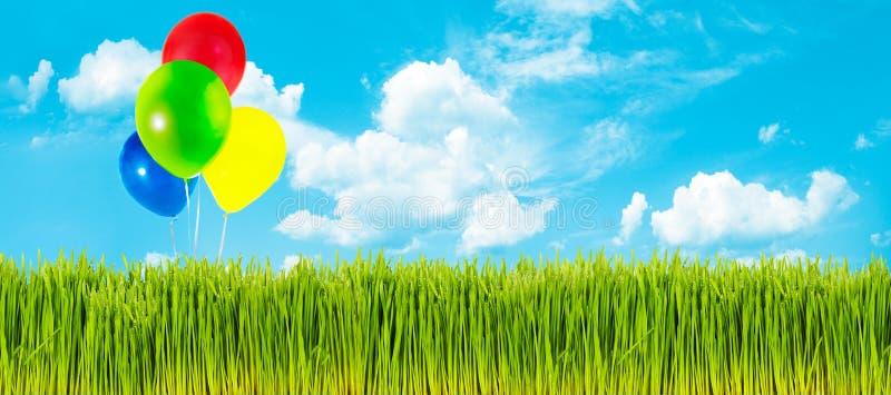 Frühlingsgras und -ballone stockfotos