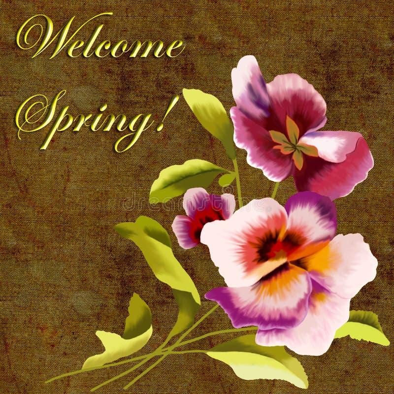 Frühlingsgrußkarte mit Blumen und Aufschrift stockfotografie