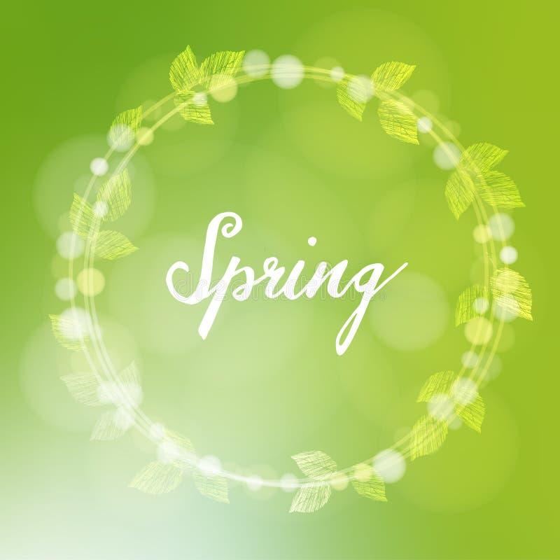 Frühlingshintergrund mit dem Kranz, der von den Blättern und vom bokeh gemacht wird, beleuchtet, lizenzfreie abbildung