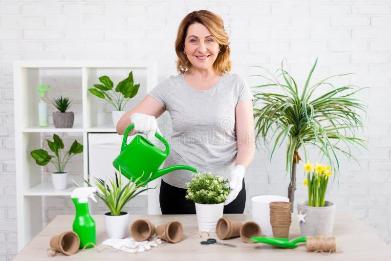 Frühlingskonzept - lächelnde Bewässerungstopfpflanzen der reifen Frau zu Hause lizenzfreie stockfotografie