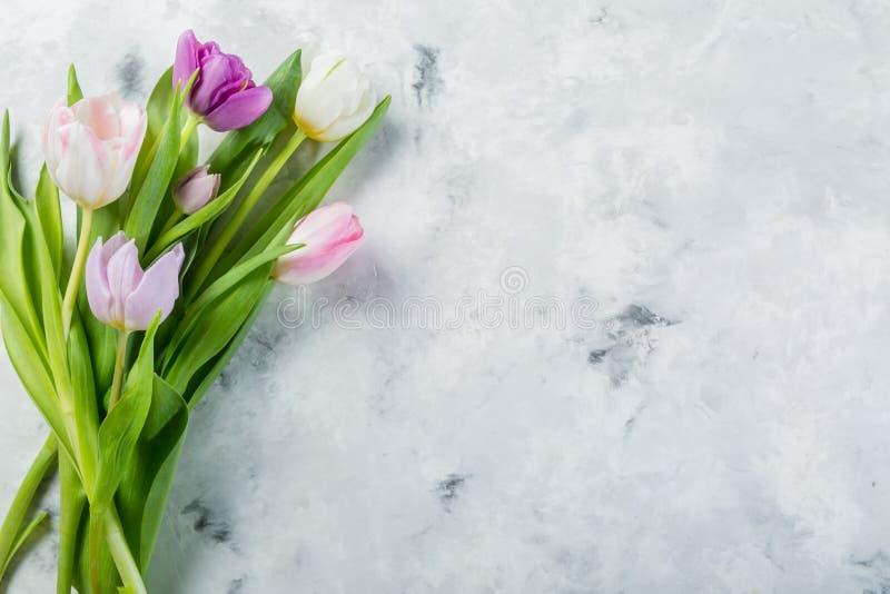 Frühlingskonzept - Ostern, Muttertag, Blumen auf Marmorhintergrund lizenzfreie stockfotografie