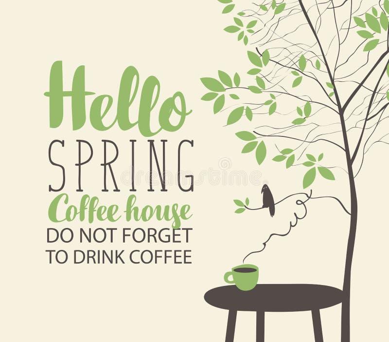 Frühlingslandschaft auf Kaffeethema mit Schale auf Tabelle stock abbildung
