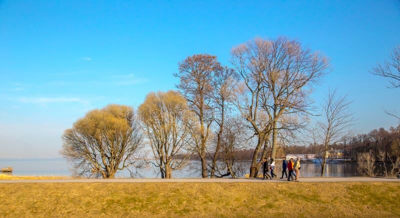 Frühlingslandschaft, klassische Ansicht der Ostsee im alten Park, Peterhof St Petersburg, Russland lizenzfreies stockfoto
