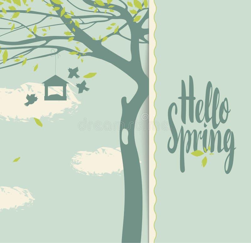 Frühlingslandschaft mit blühendem Baum lizenzfreie abbildung