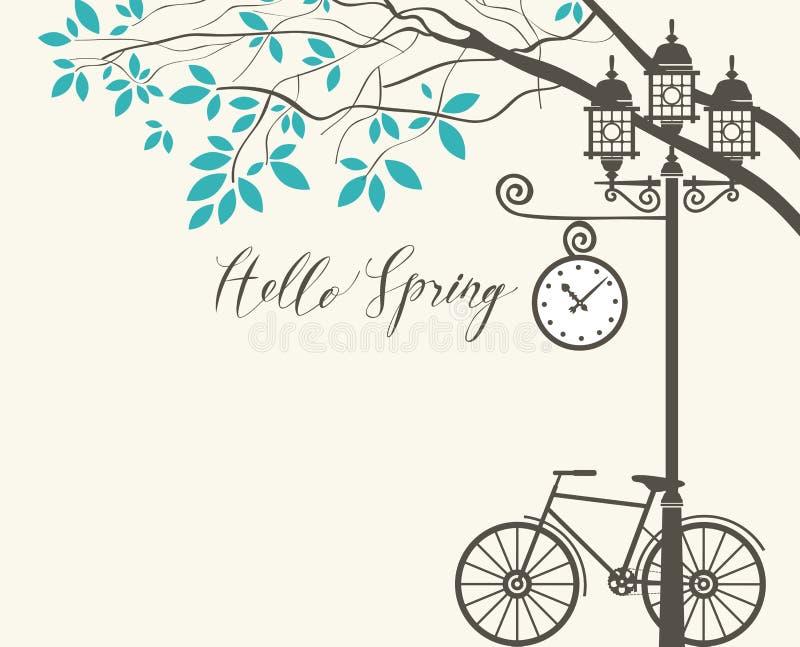 Frühlingslandschaft mit Fahrrad, Baum und Laternenpfahl stock abbildung