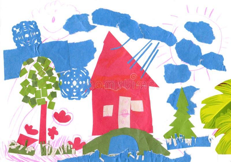 Frühlingslandschaft mit Haus. lizenzfreie abbildung