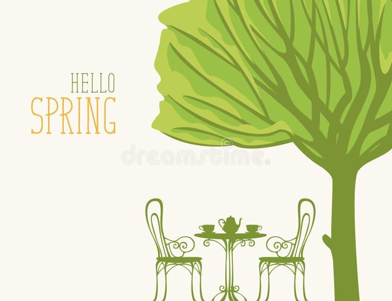 Frühlingslandschaft mit Tabelle für zwei unter Baum vektor abbildung