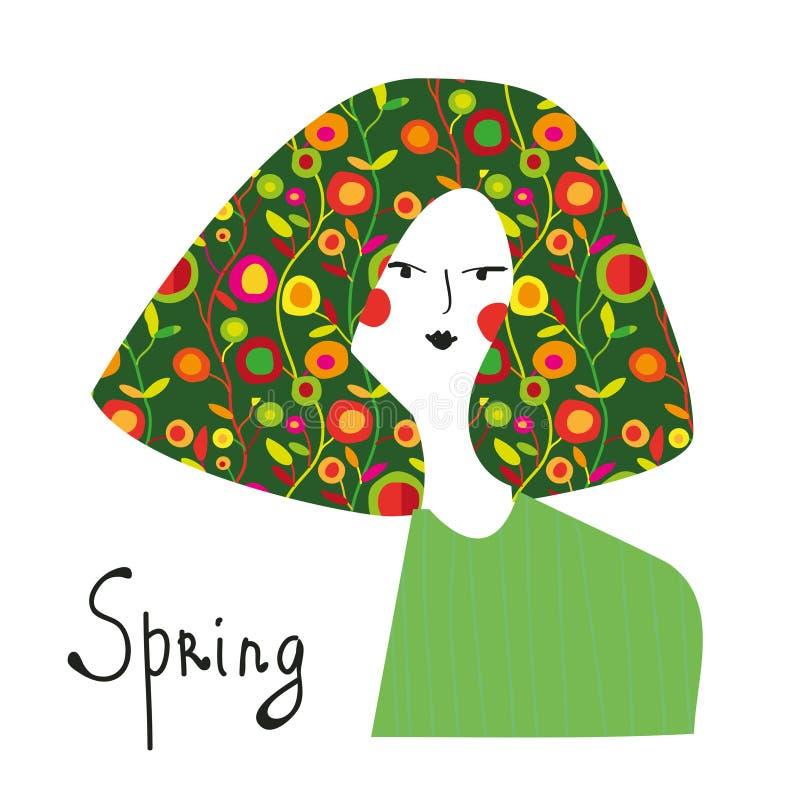 Frühlingsmädchen mit Blumenhaarmodefahne vektor abbildung