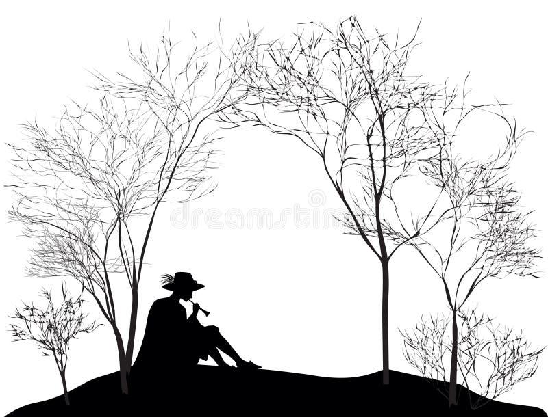 Frühlingsmelodie, Schattenbild des Jungen, der auf dem Hügelrasen sitzt und auf Reedrohr, Schwarzweiss spielt, stock abbildung