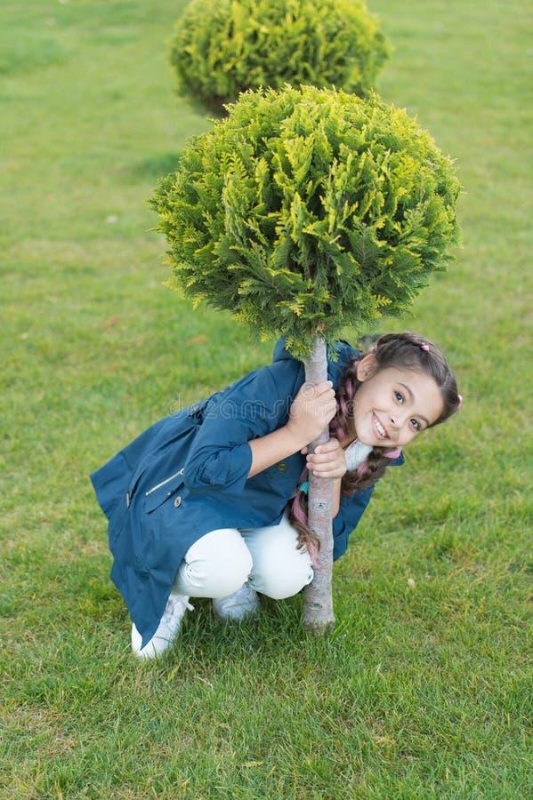 Frühlingsmode für wenig Mädchen Glückliches Kind mit Thuja Naturlandschaftsdesign Parks und im Freien Hölzerner Weg lizenzfreie stockfotos