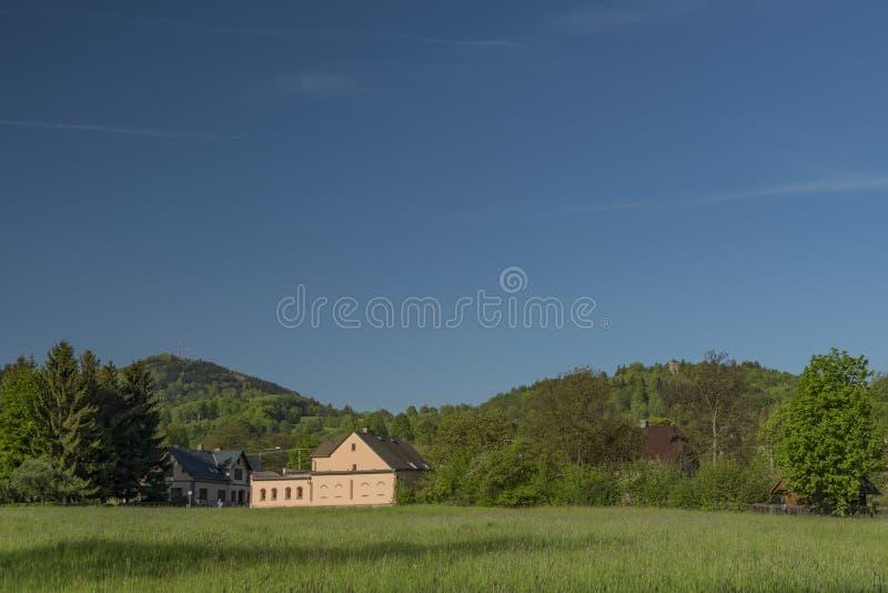 Frühlingsmorgen in Varnsdorf-Region stockbild